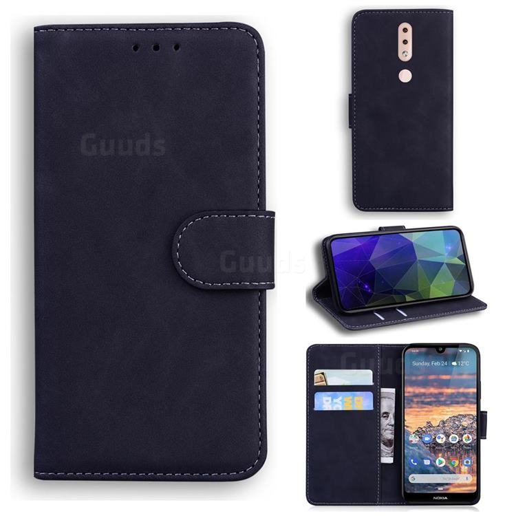 Retro Classic Skin Feel Leather Wallet Phone Case for Nokia 4.2 - Black