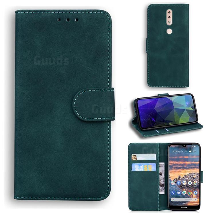 Retro Classic Skin Feel Leather Wallet Phone Case for Nokia 4.2 - Green