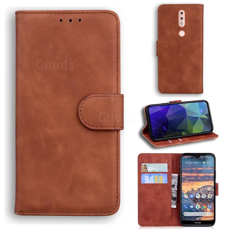 Retro Classic Skin Feel Leather Wallet Phone Case for Nokia 4.2 - Brown