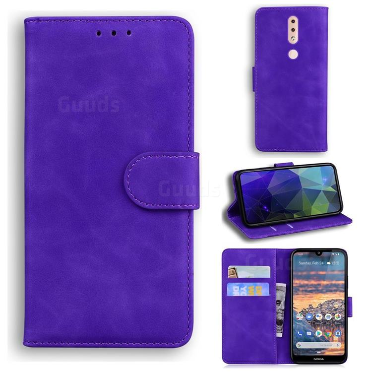 Retro Classic Skin Feel Leather Wallet Phone Case for Nokia 4.2 - Purple