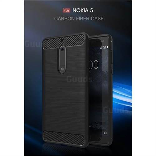 Luxury Carbon Fiber Brushed Wire Drawing Silicone TPU Back Cover for Nokia 5 Nokia5 (Black)