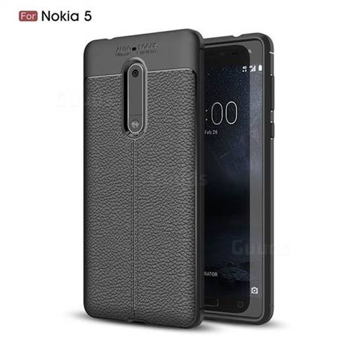 Luxury Auto Focus Litchi Texture Silicone TPU Back Cover for Nokia 5 Nokia5 - Black