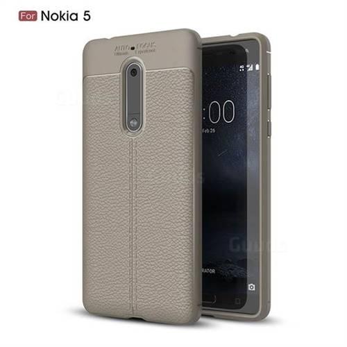 Luxury Auto Focus Litchi Texture Silicone TPU Back Cover for Nokia 5 Nokia5 - Gray