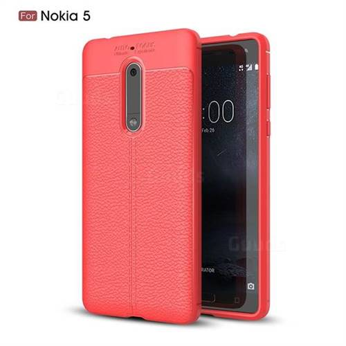 Luxury Auto Focus Litchi Texture Silicone TPU Back Cover for Nokia 5 Nokia5 - Red