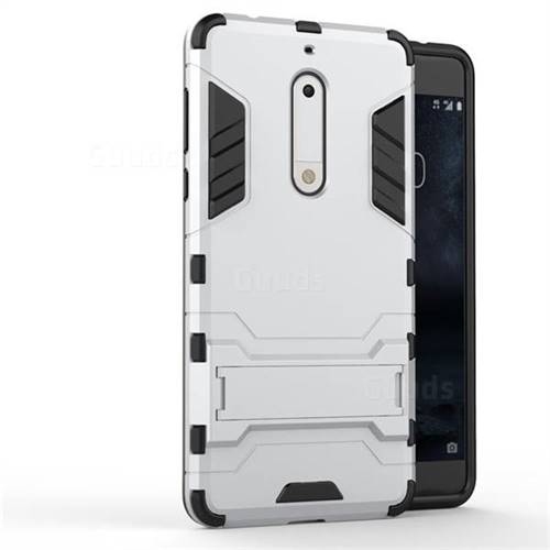 innovative design f9246 80fb2 Armor Premium Tactical Grip Kickstand Shockproof Dual Layer Rugged Hard  Cover for Nokia 5 Nokia5 - Silver