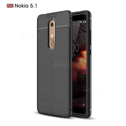 Luxury Auto Focus Litchi Texture Silicone TPU Back Cover for Nokia 5.1 - Black