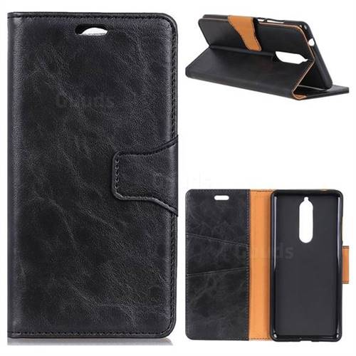 MURREN Luxury Crazy Horse PU Leather Wallet Phone Case for Nokia 5.1 - Black