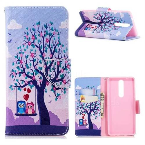 Tree and Owls Leather Wallet Case for Nokia 5.1