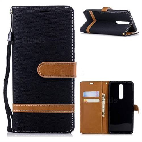 Jeans Cowboy Denim Leather Wallet Case for Nokia 5.1 - Black