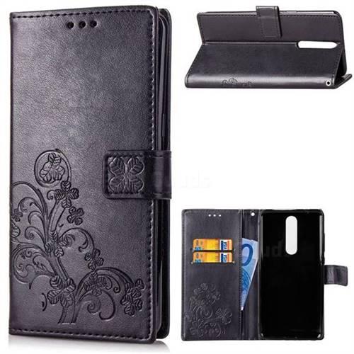 Embossing Imprint Four-Leaf Clover Leather Wallet Case for Nokia 5.1 - Black