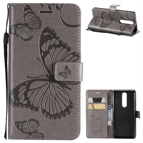 Embossing 3D Butterfly Leather Wallet Case for Nokia 5.1 - Gray