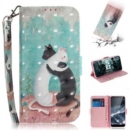 Black and White Cat 3D Painted Leather Wallet Phone Case for Nokia 5.1