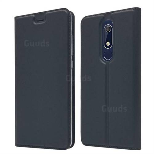Ultra Slim Card Magnetic Automatic Suction Leather Wallet Case for Nokia 5.1 - Star Grey