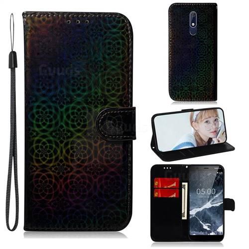 Laser Circle Shining Leather Wallet Phone Case for Nokia 5.1 - Black