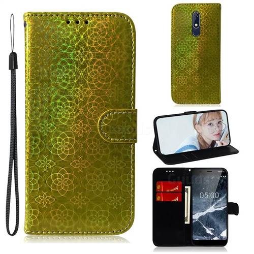 Laser Circle Shining Leather Wallet Phone Case for Nokia 5.1 - Golden