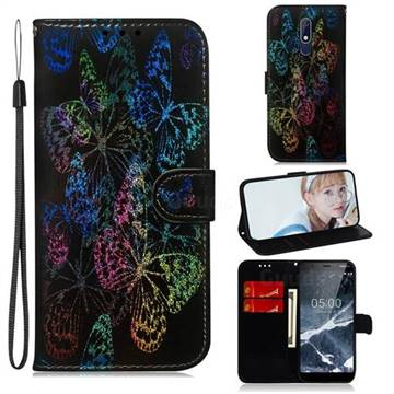 Black Butterfly Laser Shining Leather Wallet Phone Case for Nokia 5.1
