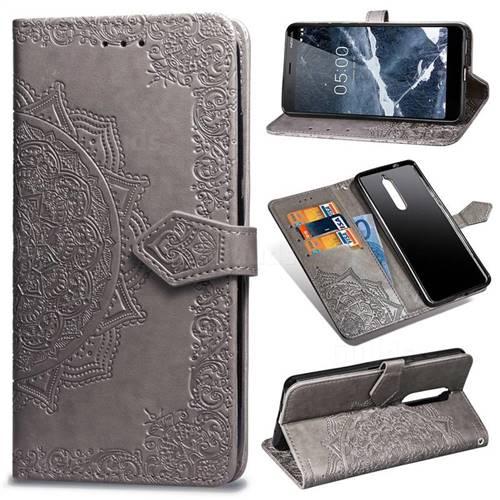 Embossing Imprint Mandala Flower Leather Wallet Case for Nokia 5.1 - Gray