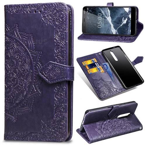 Embossing Imprint Mandala Flower Leather Wallet Case for Nokia 5.1 - Purple