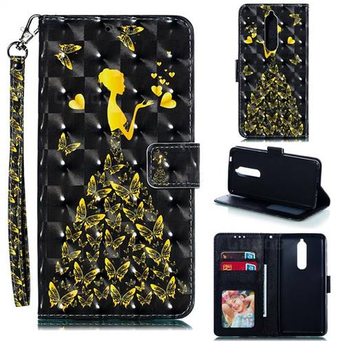 Golden Butterfly Girl 3D Painted Leather Phone Wallet Case for Nokia 5.1