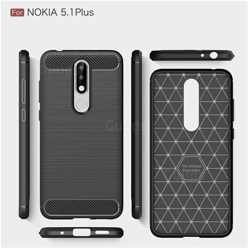 online store ef095 c8060 Luxury Carbon Fiber Brushed Wire Drawing Silicone TPU Back Cover for Nokia  5.1 Plus (Nokia X5) - Black