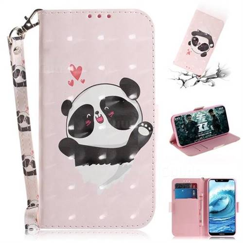 Heart Cat 3D Painted Leather Wallet Phone Case for Nokia 5.1 Plus (Nokia X5)