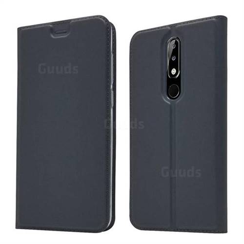 Ultra Slim Card Magnetic Automatic Suction Leather Wallet Case for Nokia 5.1 Plus (Nokia X5) - Star Grey