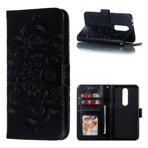Intricate Embossing Datura Solar Leather Wallet Case for Nokia 5.1 Plus (Nokia X5) - Black