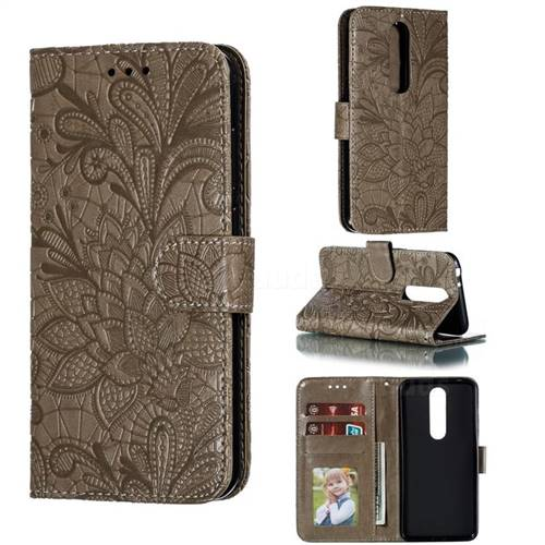 Intricate Embossing Lace Jasmine Flower Leather Wallet Case for Nokia 5.1 Plus (Nokia X5) - Gray