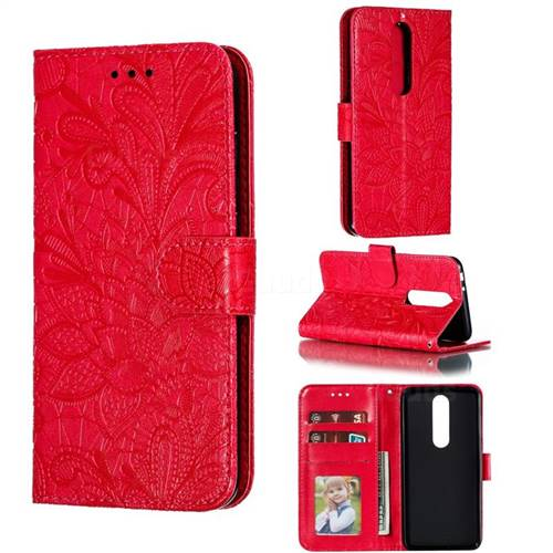 Intricate Embossing Lace Jasmine Flower Leather Wallet Case for Nokia 5.1 Plus (Nokia X5) - Red