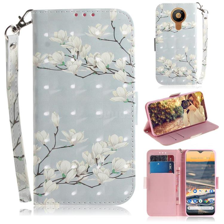 Magnolia Flower 3D Painted Leather Wallet Phone Case for Nokia 5.3