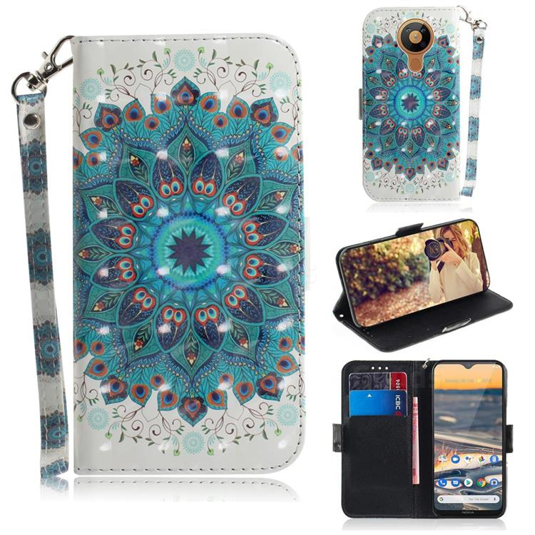 Peacock Mandala 3D Painted Leather Wallet Phone Case for Nokia 5.3