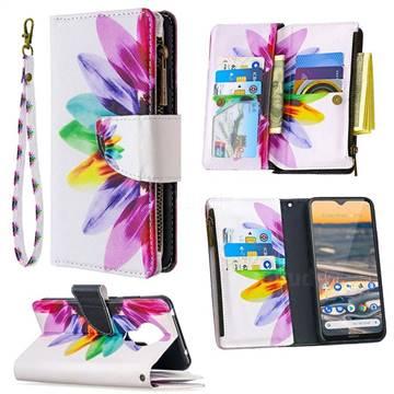 Seven-color Flowers Binfen Color BF03 Retro Zipper Leather Wallet Phone Case for Nokia 5.3