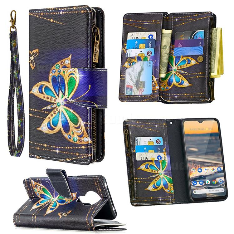Golden Shining Butterfly Binfen Color BF03 Retro Zipper Leather Wallet Phone Case for Nokia 5.3