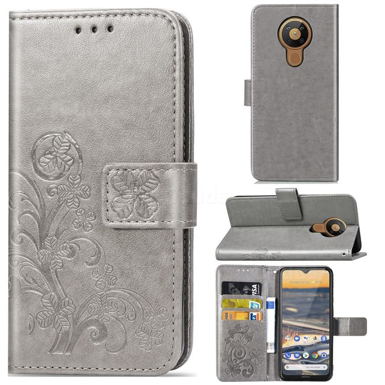 Embossing Imprint Four-Leaf Clover Leather Wallet Case for Nokia 5.3 - Grey
