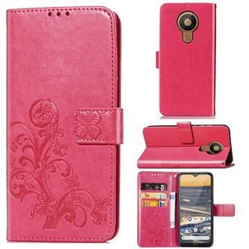 Embossing Imprint Four-Leaf Clover Leather Wallet Case for Nokia 5.3 - Rose Red
