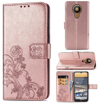 Embossing Imprint Four-Leaf Clover Leather Wallet Case for Nokia 5.3 - Rose Gold