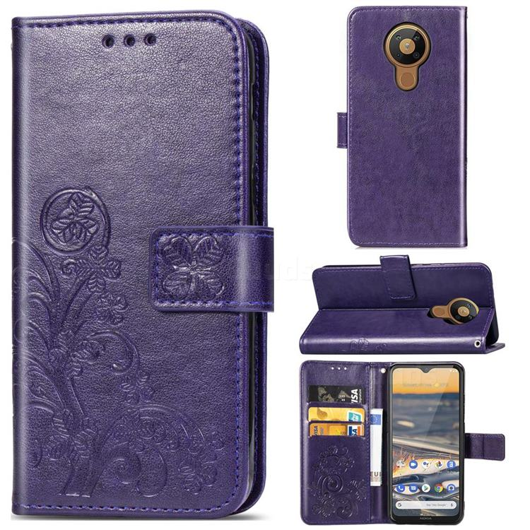 Embossing Imprint Four-Leaf Clover Leather Wallet Case for Nokia 5.3 - Purple