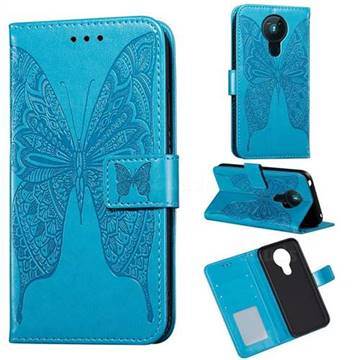 Intricate Embossing Vivid Butterfly Leather Wallet Case for Nokia 5.3 - Blue