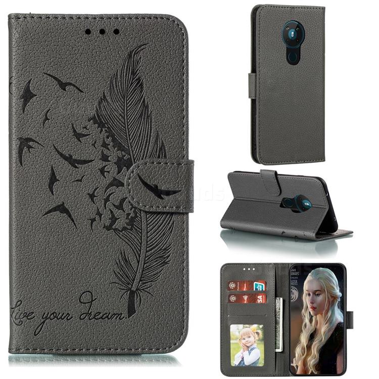Intricate Embossing Lychee Feather Bird Leather Wallet Case for Nokia 5.3 - Gray