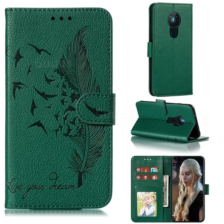 Intricate Embossing Lychee Feather Bird Leather Wallet Case for Nokia 5.3 - Green