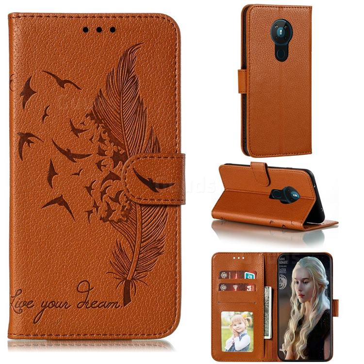 Intricate Embossing Lychee Feather Bird Leather Wallet Case for Nokia 5.3 - Brown