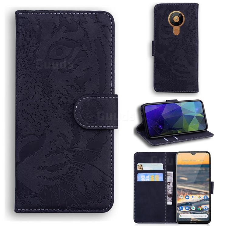 Intricate Embossing Tiger Face Leather Wallet Case for Nokia 5.3 - Black
