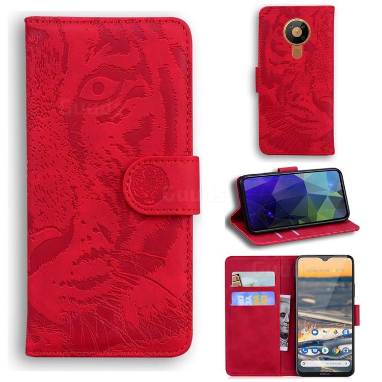 Intricate Embossing Tiger Face Leather Wallet Case for Nokia 5.3 - Red
