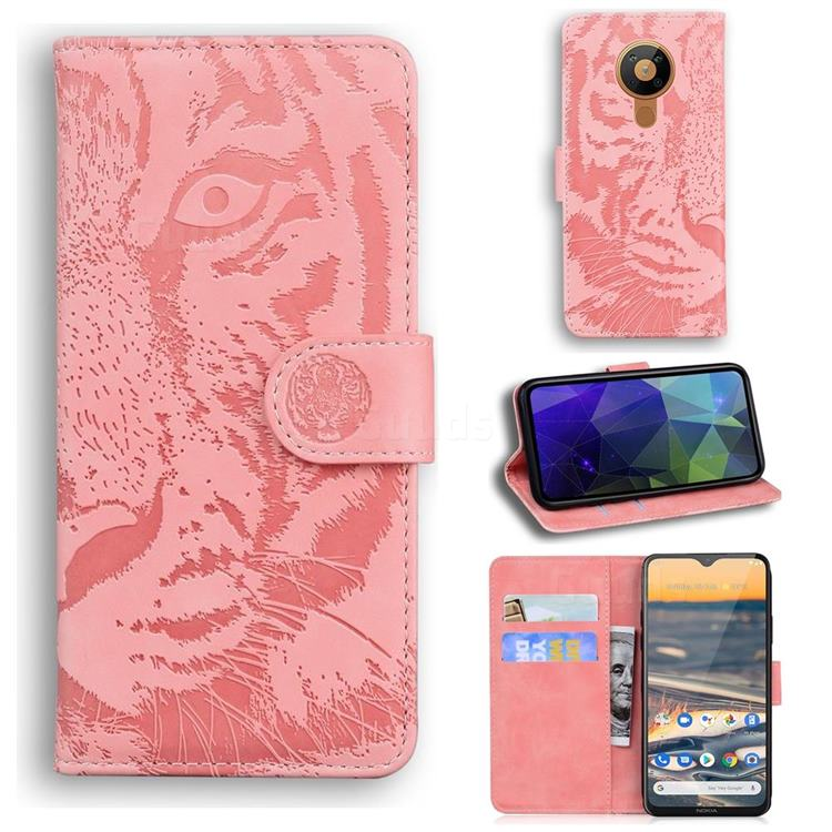 Intricate Embossing Tiger Face Leather Wallet Case for Nokia 5.3 - Pink
