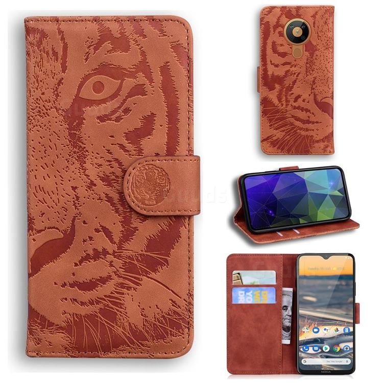 Intricate Embossing Tiger Face Leather Wallet Case for Nokia 5.3 - Brown