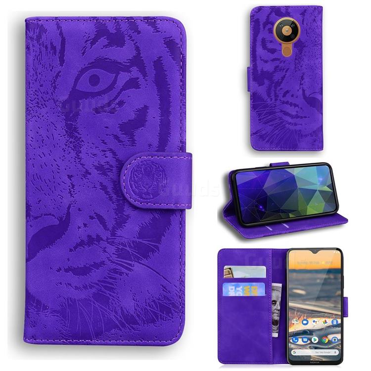 Intricate Embossing Tiger Face Leather Wallet Case for Nokia 5.3 - Purple