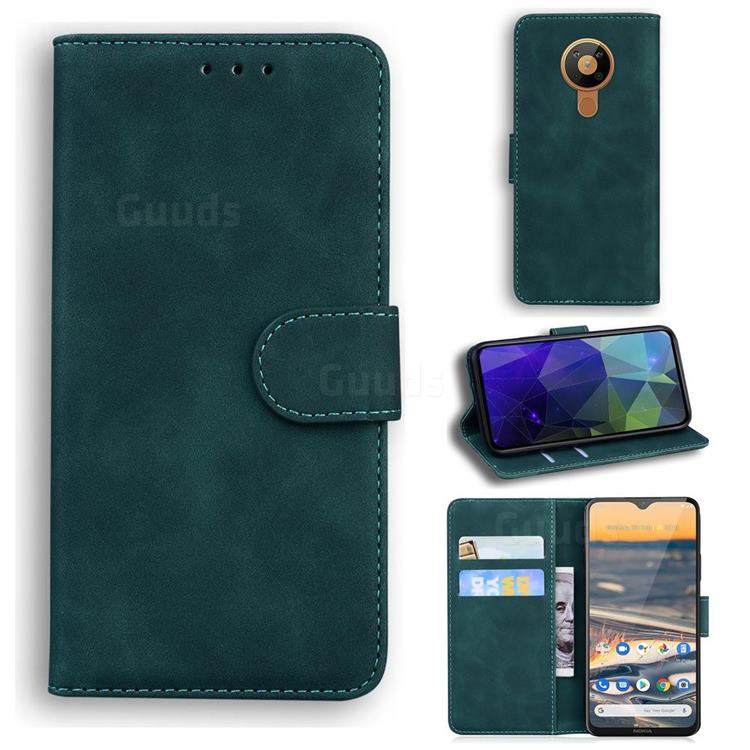 Retro Classic Skin Feel Leather Wallet Phone Case for Nokia 5.3 - Green