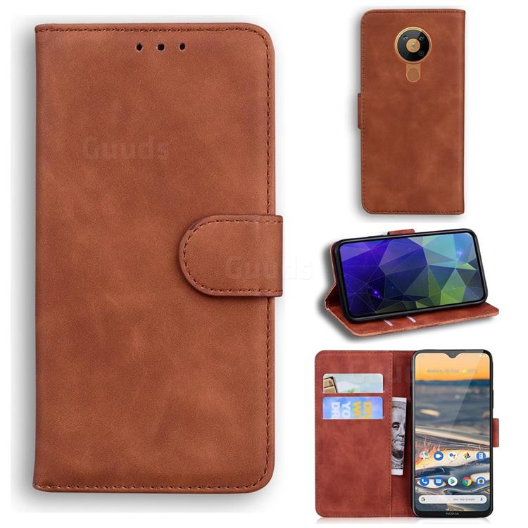 Retro Classic Skin Feel Leather Wallet Phone Case for Nokia 5.3 - Brown