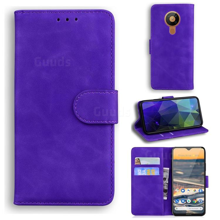 Retro Classic Skin Feel Leather Wallet Phone Case for Nokia 5.3 - Purple
