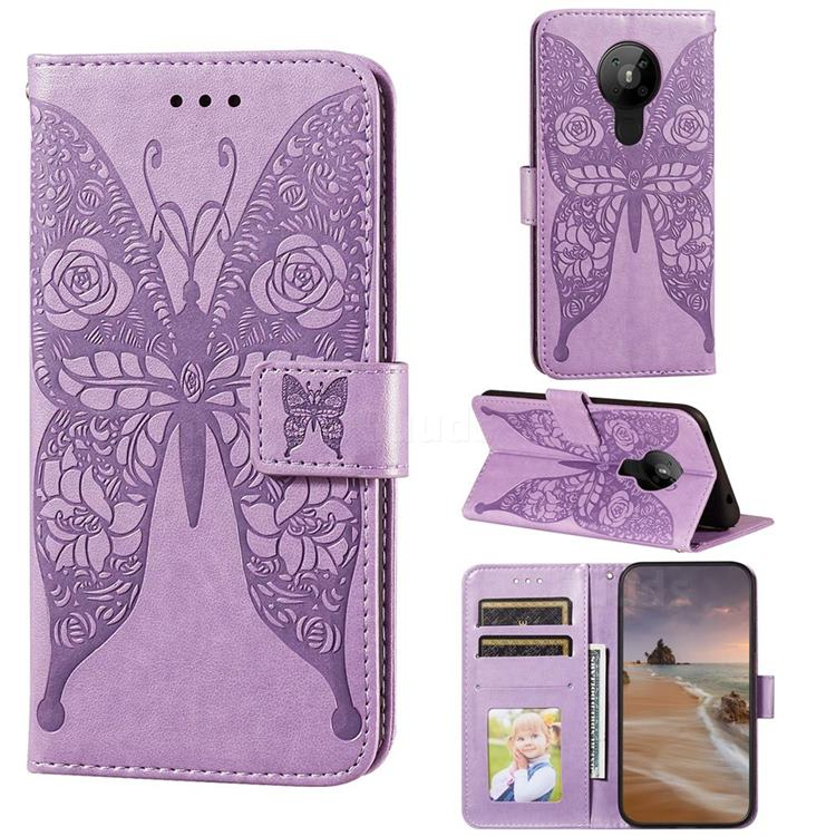 Intricate Embossing Rose Flower Butterfly Leather Wallet Case for Nokia 5.3 - Purple